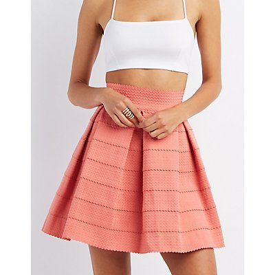 Pleated Bandage Skater Dress