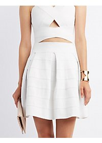 Pleated Bandage Skater Skirt