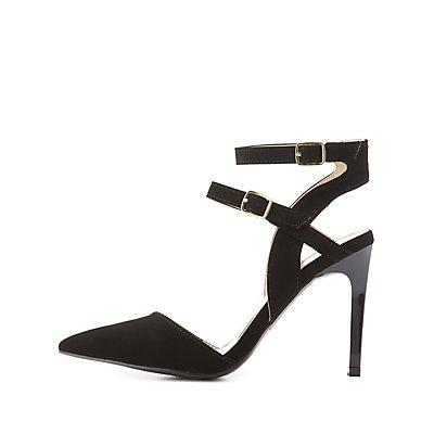 Qupid Buckled Pointed Toe Heels