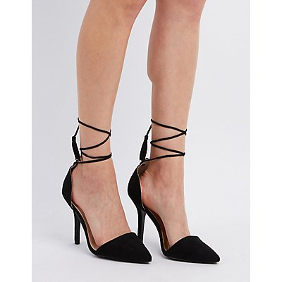 Qupid Lace-Up D'Orsay Heels