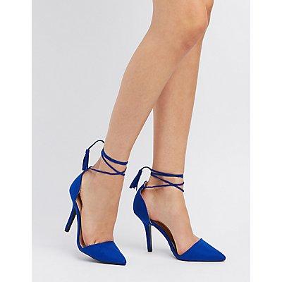 Qupid Tassel Lace-Up D'Orsay Heels