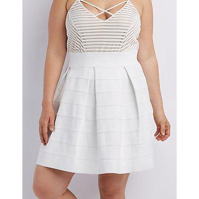 Plus Size Pleated Bandage Skater Skirt