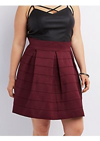 Plus Size Pleated Bandage Skater Skirt
