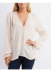 Crochet-Trim Long Sleeve Top