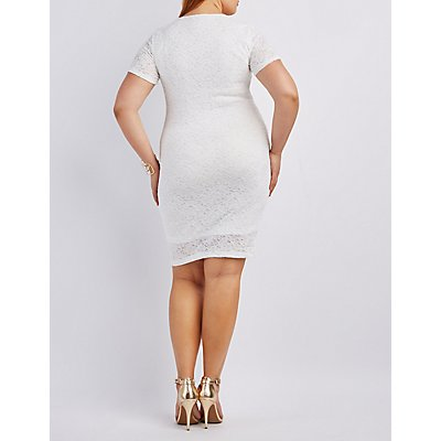 Notched Lace Bodycon Dress