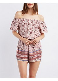 Off-the-Shoulder Border Print Romper
