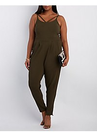 Plus Size Caged Bust Sleeveless Jumpsuit