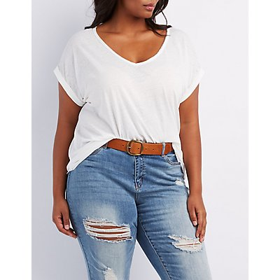 Plus Size V-Neck Boyfriend Tee