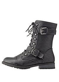 Lace-Up Buckled Combat Boots