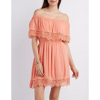Crochet-Trim Gauze Dress
