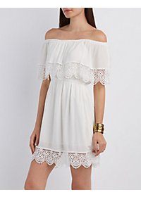 Crochet-Trim Gauze Dress