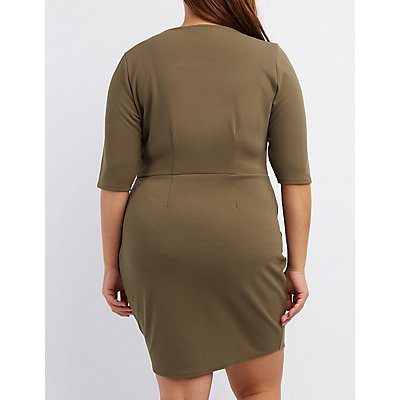 Plus Size Caged-Bust Bodycon Dress