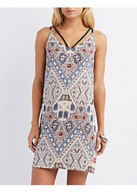 Multi Print Strappy Shift Dress