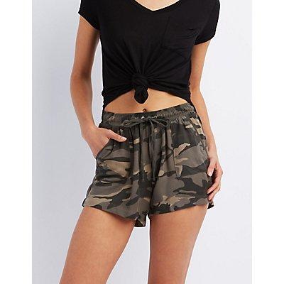 Camo Print Drawstring Shorts
