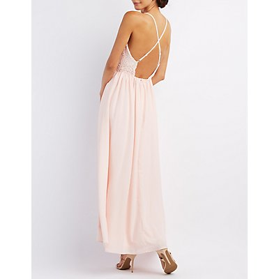 Crochet & Chiffon Maxi Dress