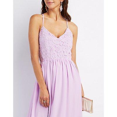 Crochet & Chiffon Maxi Dress