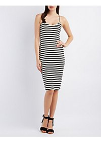 Striped & Ribbed Bodycon Midi Dress