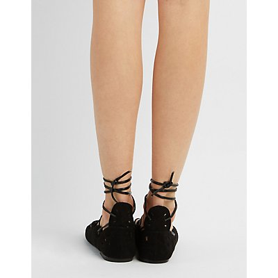 Qupid Lace-Up Scalloped Sandals