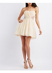 Strapless Rhinestone Waist Skater Dress