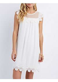 Mesh Yoke Crochet Trim Shift Dress