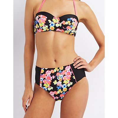High-Waisted Floral Print Bikini Bottoms
