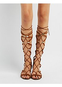 Metal-Trim Lace-Up Gladiator Sandals