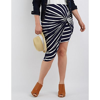 Plus Size Draped Asymmetrical Skirt