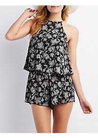 Floral Print Tiered Romper