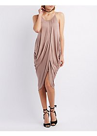 Draped Overlay Sleeveless Dress