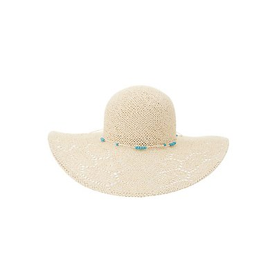 Beaded Straw Floppy Hat