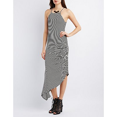 Ruched Asymmetrical Maxi Dress