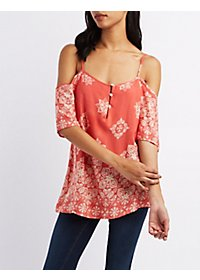 Strappy Printed Cold Shoulder Top