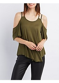 Strappy Cold Shoulder Swing Tee