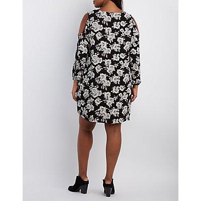 Plus Size Printed Cold Shoulder Shift Dress
