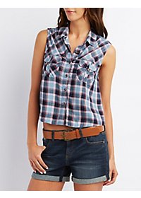 Sleeveless Plaid Button-Up Shirt