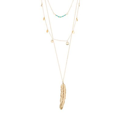 Beads & Feather Layered Necklace