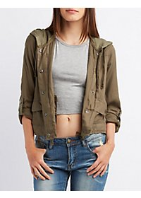 Hooded Cropped Anorak Jacket