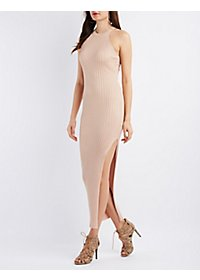 High-Slit Bib Neck Bodycon Dress