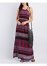 High Slit Printed Maxi Dress