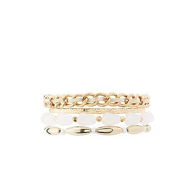 Beaded & Distressed Metal Layering Bracelets
