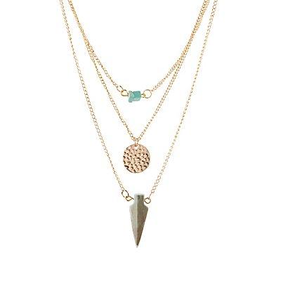 Arrowhead & Stones Layered Necklace