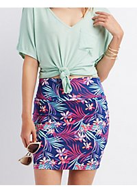 Printed Bodycon Mini Skirt