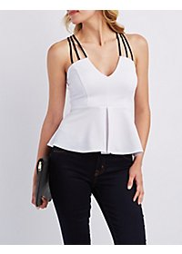 Strappy Peplum Tank Top