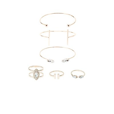 Caged Bracelets & Rings - 6 Pack