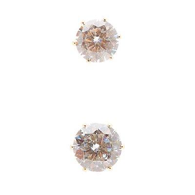 Oversize Rhinestone Stud Earrings - 3 Pack