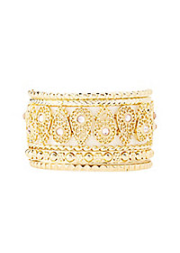 Filigree & Embellished Bangle Bracelets - 8 Pack