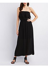 Crochet-Trim Strapless Maxi Dress