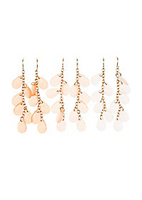 Gemstone Chain Drop Earrings - 3 Pack