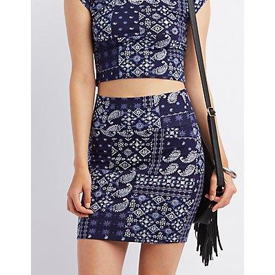Bandana Print Bodycon Mini Skirt