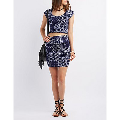 Bandana Print Bodycon Mini Skirt